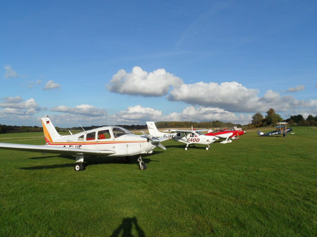 Visitors parked at Popham airfield