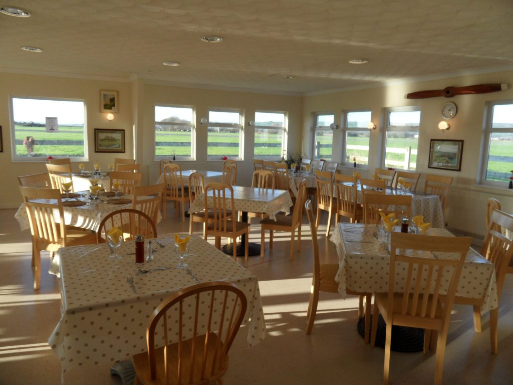 Great views of the runway from inside Pembery Airport Cafe