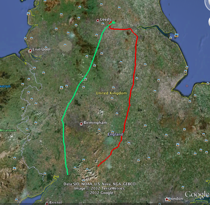 Kemble to Sherburn-in-Elmet flight track