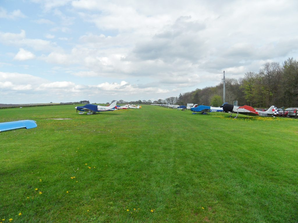 The line of aircraft parked at Compton Abbas