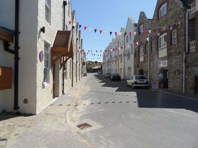 Braye main street decorated for the Jubilee