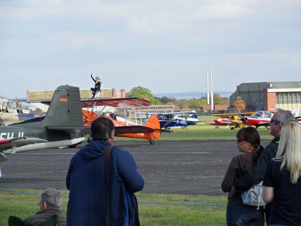 Breitling wing walkers waving ready to depart