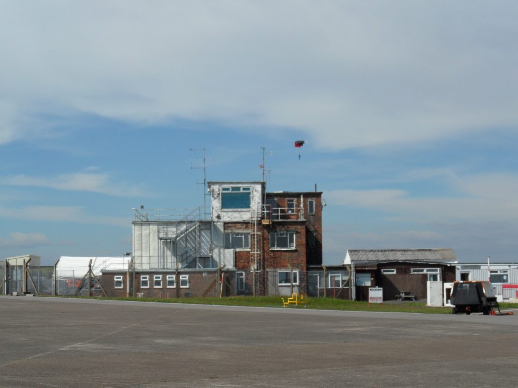 Swansea Airport main building including the Cafe - parachute drop just behind