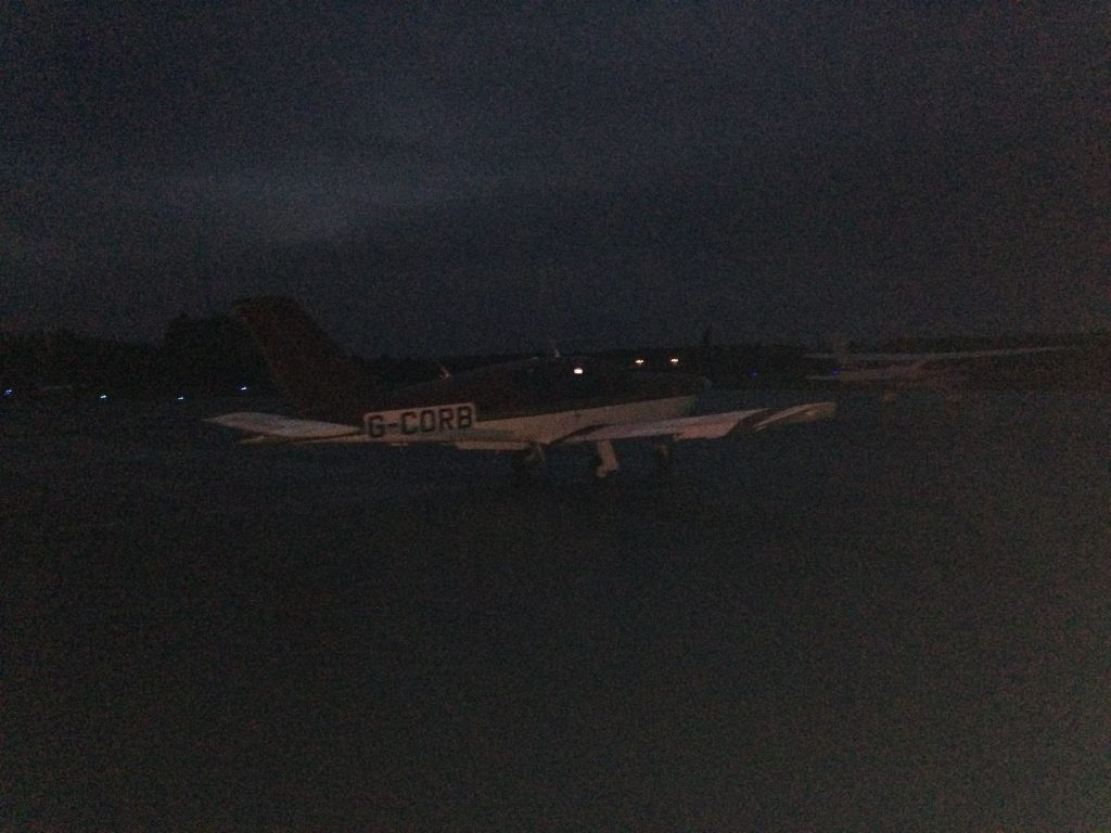 Parked up on the main apron at Oxford in the dark