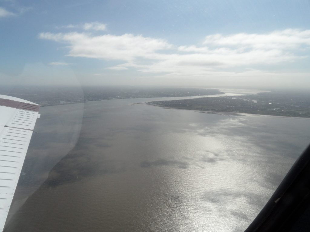 Crossing the Mersey, Liverpool on the left, Wirral on the right