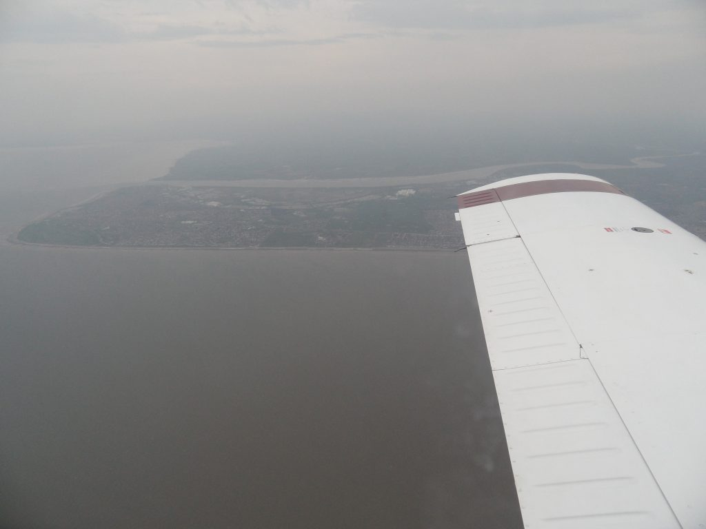 Approaching the coast at Fleetwood  just north of Blackpool
