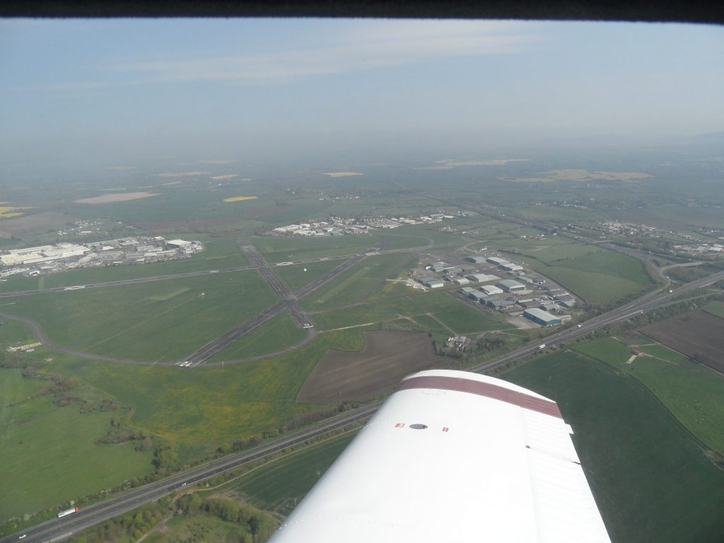 Arriving back at Gloucester, north west of the field positioning for right base join for 27