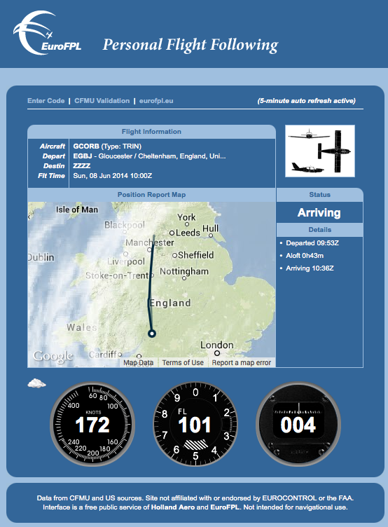 IFR Route flown reported by the system