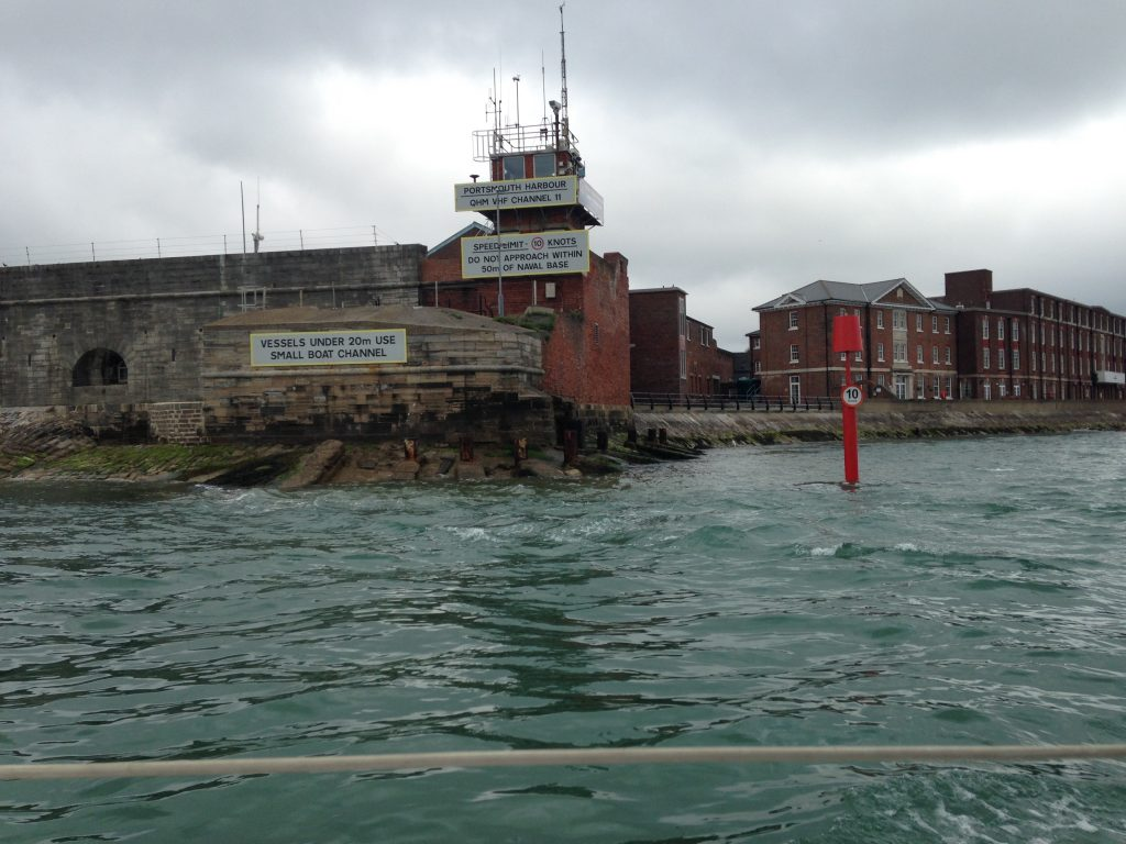 Motoring out Portsmouth Harbour Entrance