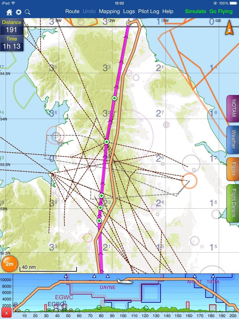 Route planned and flown