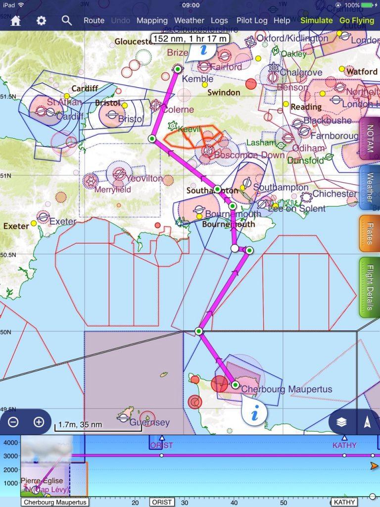 Planned route inbound