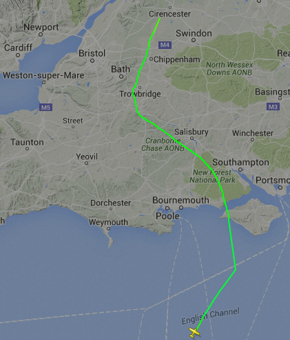 FlightRadar24 Cherbourg to Kemble
