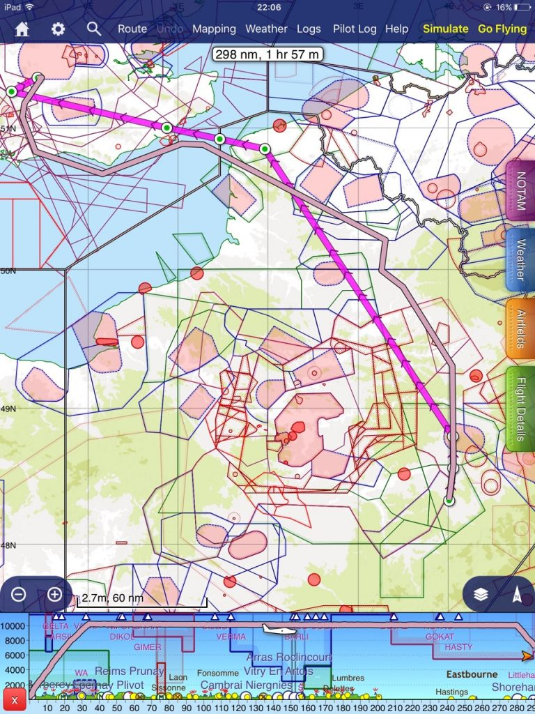 Inbound route filed (magenta) and flown (purple)