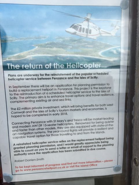 A commercial helicopter service to be restored between Penzance and Tresco